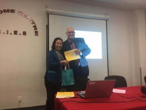Present Certificate to speaker